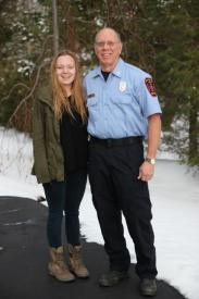 Sarah Ball With Her Uncle, Captain Brad Ball of the Webster Volunteer Fire Department