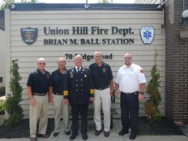 From Left:  Commissioner Jim Hoffman, Commissioner Bill Southwell, Past Chief Brian M. Ball, Commissioner (Chairman) Stephen Wright, District Chief Chris Smith