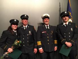 From Left:  Firefighter Amanda Vicari, Recruit Training Coordinator Captain Brad Ball, Second Assistant Chief Rob Boutillier, Firefighter/EMT Patrick MacDonald