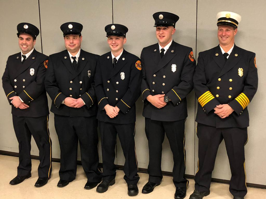 From Left:  Jeremy Tice, eric Dominik, Jacob Povio, Joseph Mascho, Chief Jerry Fedele