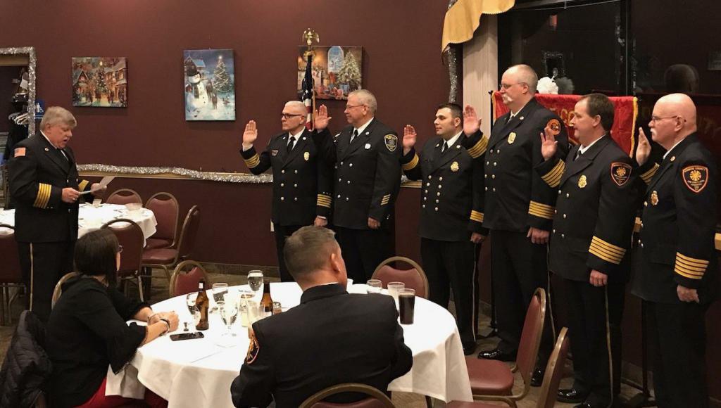 "Photo Provided by Stephen Andrews, Car 801, Monroe County Deputy Fire Coordinator. From Left: Sam DeRosa, John Semmler, Rich Tantalo, Rob ""Stretch"" Sabin, Doug Case and Steve Grandusky"