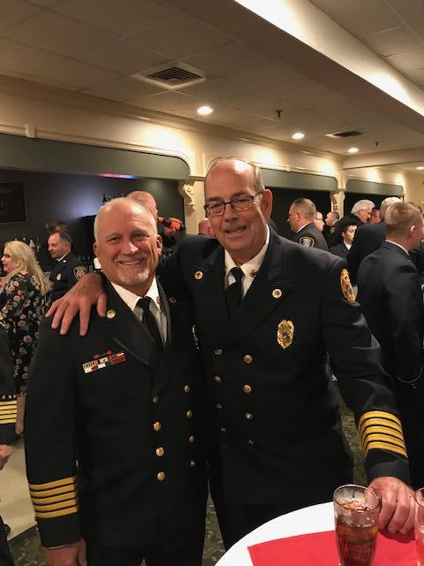 Chief Boutillier with Past Chief and Board of Fire Commissioners Chairman Stephen Wright